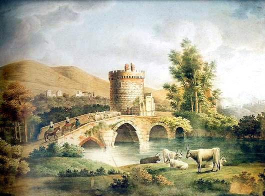 Pietro_della_Valle,_Il_ponte_lucano_sulla_via_di_Tivoli,_1880