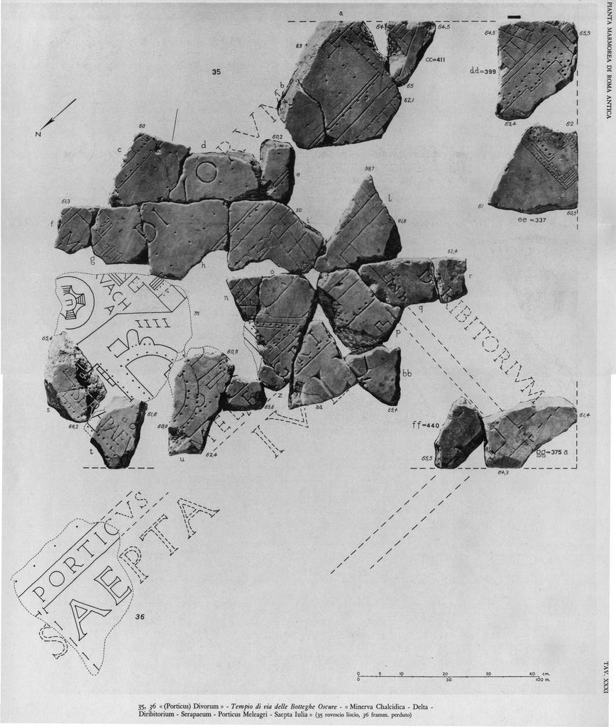 Fragmete des Marmorplans Forma Urbis, 3. Jhd. im Bereich des Isuem Campense