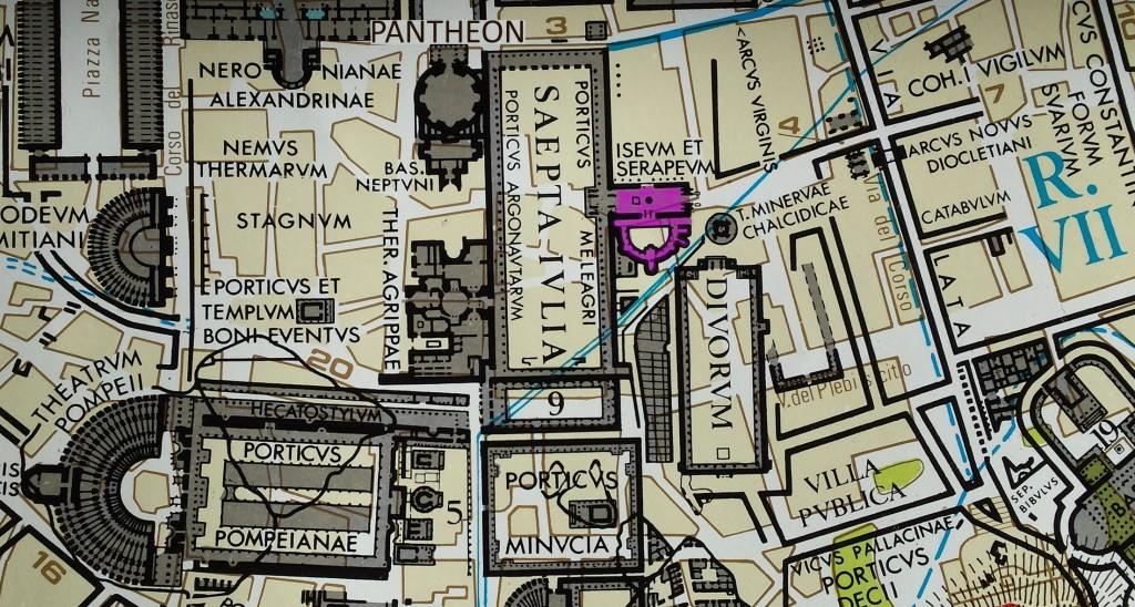 Antike Bebauung rund um das Pantheon, lila = Tempel des Osiris im Iseum Campense