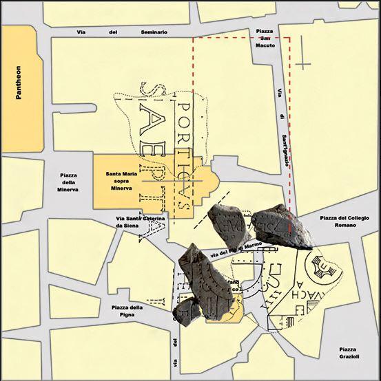Das Iseum Campense im heutigen Stadtplan